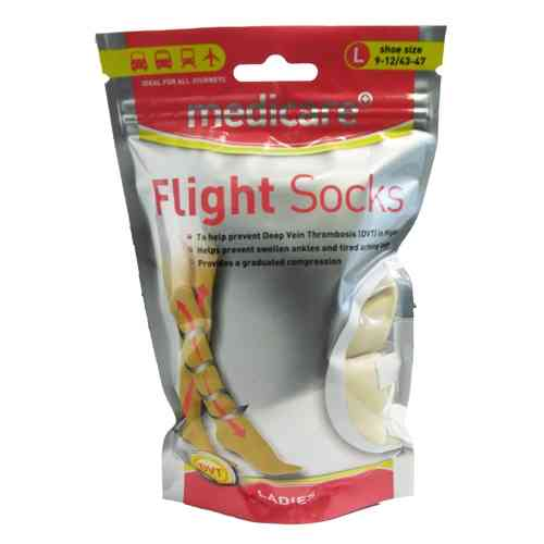 Medicare LADIES Flight Socks Prevents Deep Vein Thrombosis DVT Size large