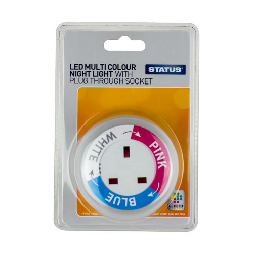 Status LED Multicolour Night Light with Plug Through socket